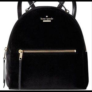 kate spade black velvet backpack